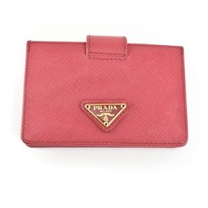 PRADA: Peony Pink Leather & Logo Card Wallet (mt)